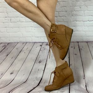 Brown Ankle booties wedge faux suede gold details